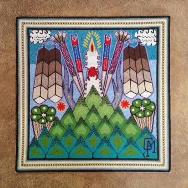"Huichol Indian Yarn Painting - 12"" x 12"""