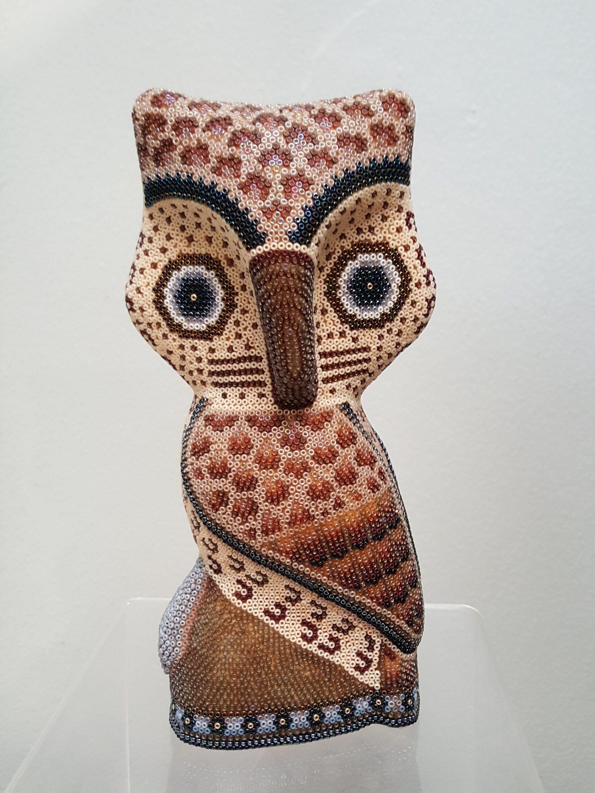 Owl Brown Tone Huichol Tiny Beaded