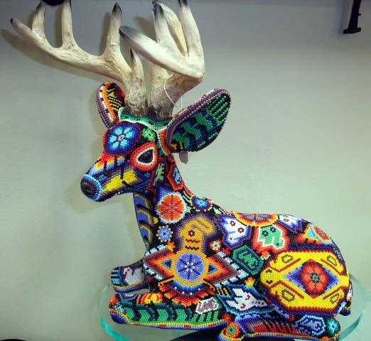 Deer with Antlers Huichol Beaded