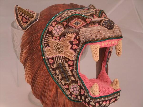 Jaguar Head Brown Tone Face Huichol Tiny Beaded
