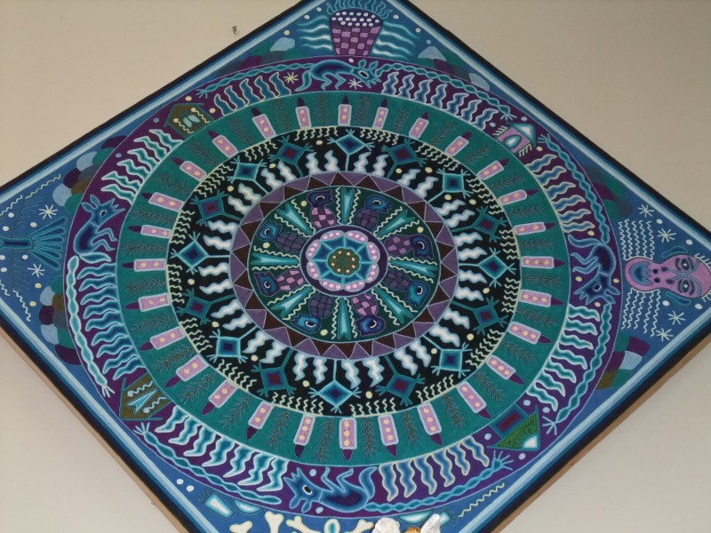 "Huichol Indian Yarn Painting - 48"" x 65"""