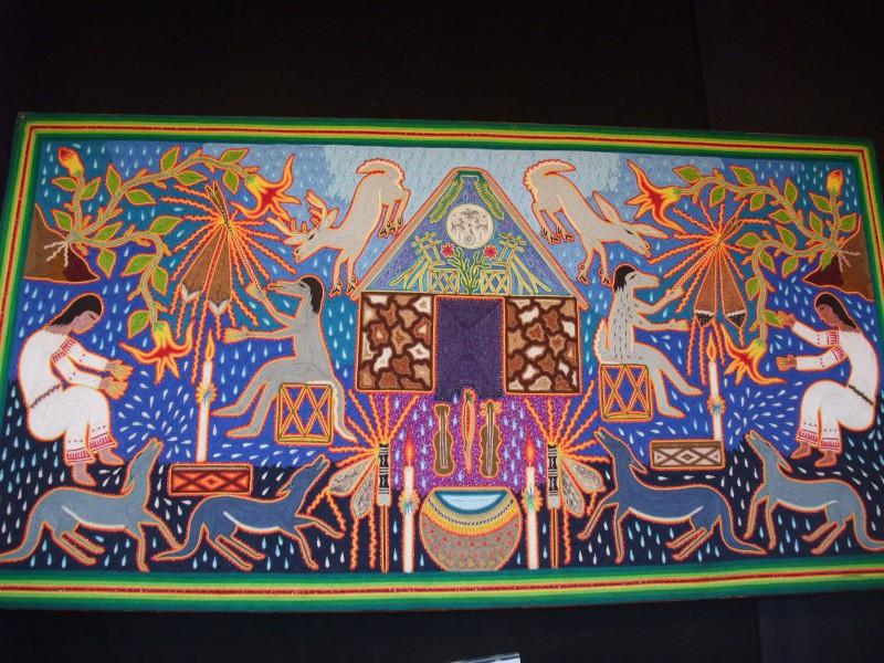 "Huichol Indian Yarn Painting - 24"" x 48"""