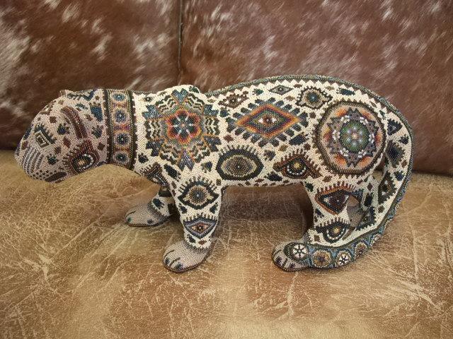 Jaguar Standing Huichol Tiny Beaded