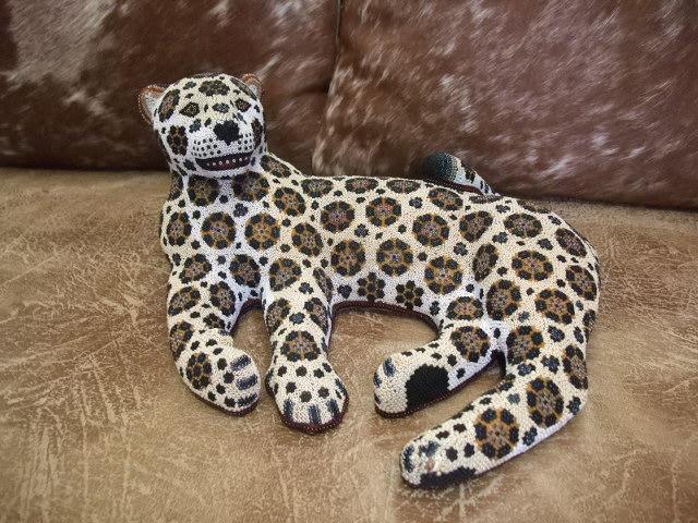Jaguar Resting Huichol Tiny Beaded