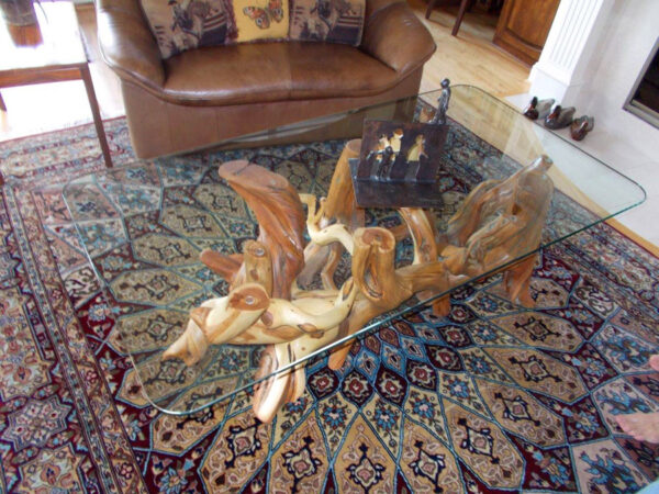 Glass Top Table with Juniper Legs