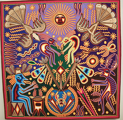 "Huichol Indian Yarn Painting - 24"" x 24"""