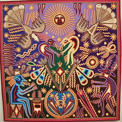 Huichol Indian Yarn Painting - 24